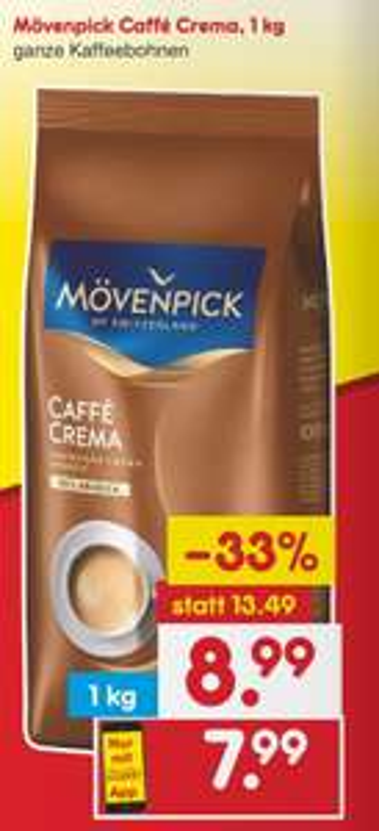 Netto: Mövenpick Caffè Crema Bohnen 1kg (1€ Rabattcoupon-mit Netto App)