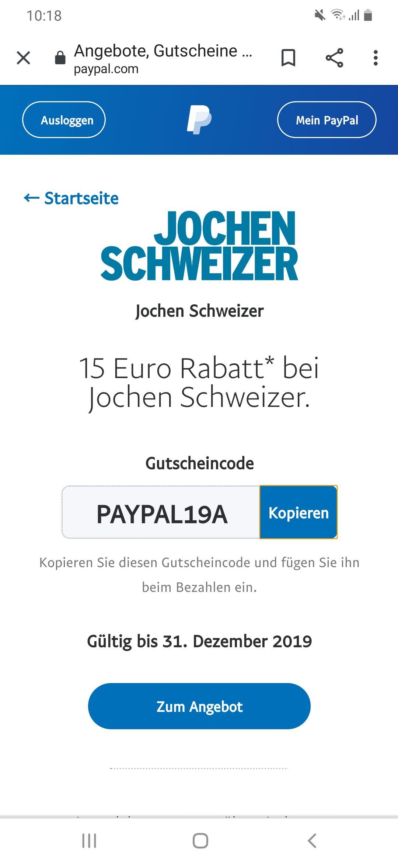 15€ Paypal Gutschein bei Jochen Schweizer (MBW 75€)
