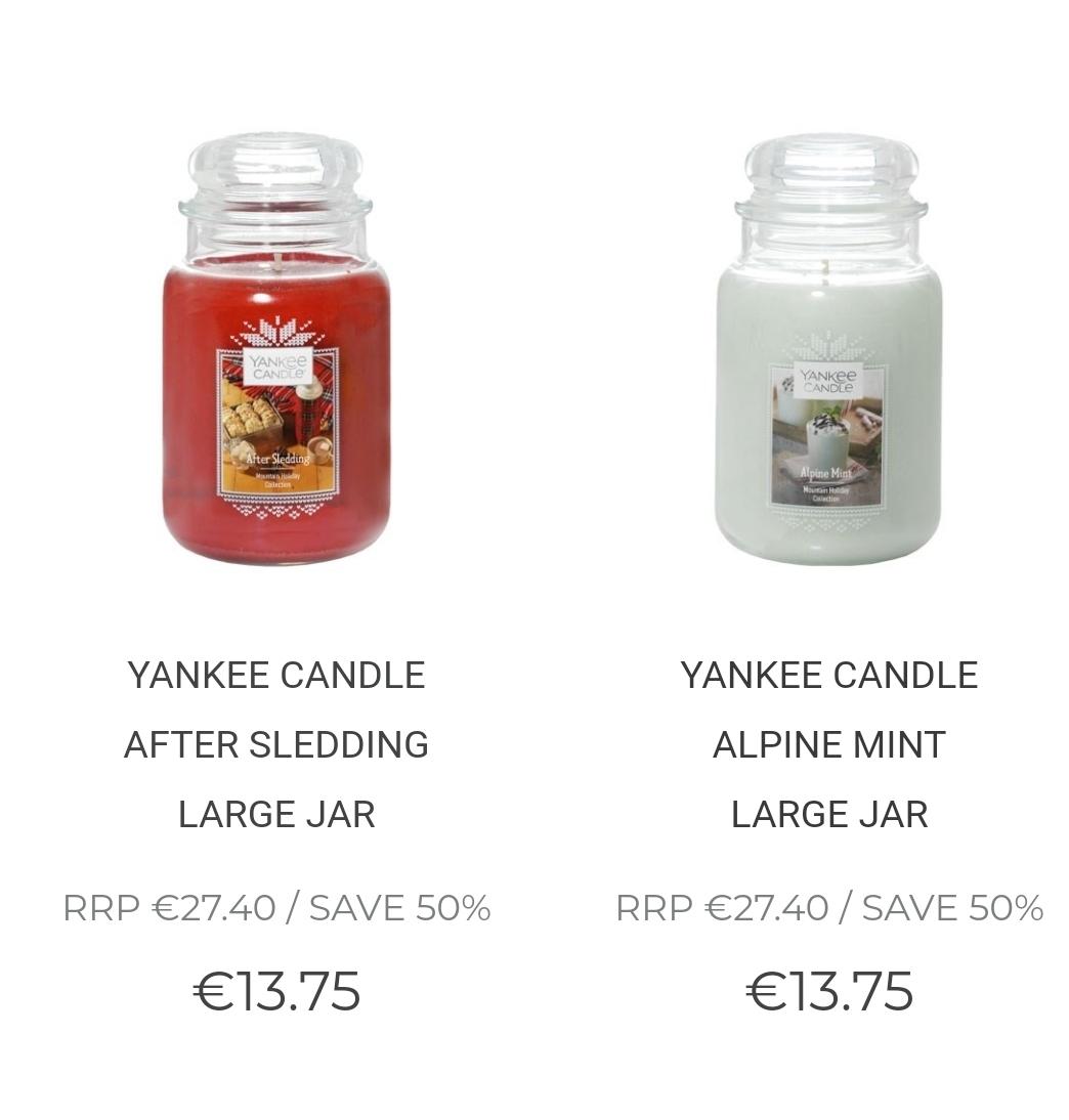 Yankee Candle Weihnachtsdüfte, große Gläser, reduziert bei candlesdirect.com