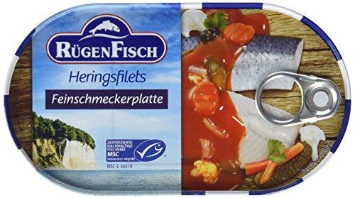 (Amazon Prime ) 19er Pack (19 x 200 g) Rügenfisch Feinschmecker Platte Heringsfilet mit feinem Gemüse