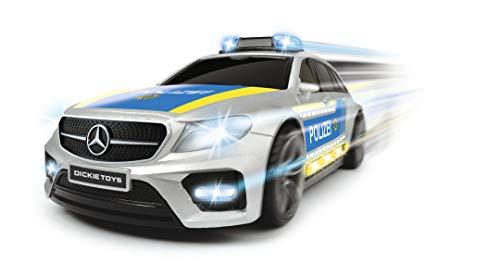 [Prime] Dickie Toys Mercedes-AMG E43, Spielzeugauto, Polizeiauto, Fahrzeug mit licht & Sound, 1:16, Silber/blau