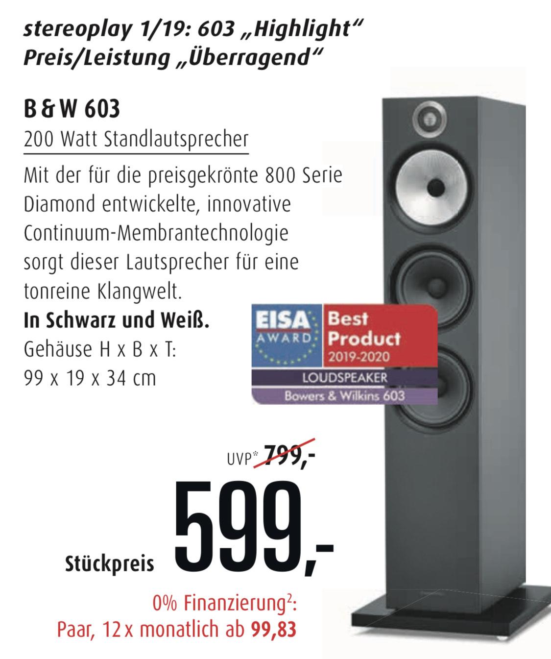 [Lokal Frankfurt/Main] B&W 603 Standlautsprecher