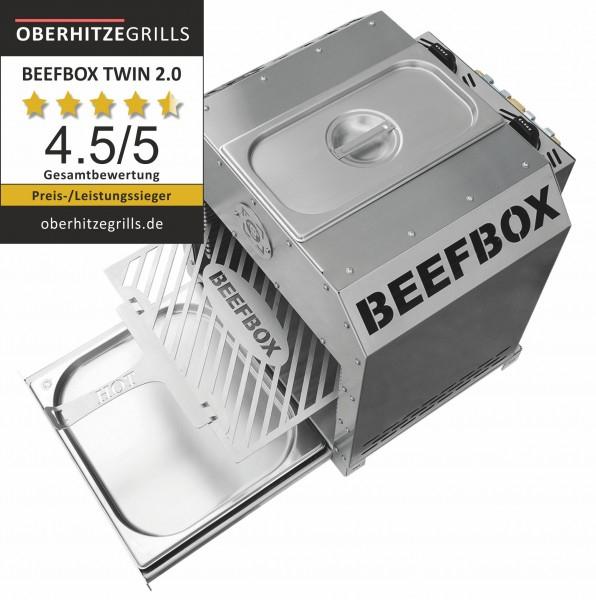 B-Ware Beefbox Twin 2.0 800°C Oberhitzegrill 2x Brenner Warmehaltefunktion