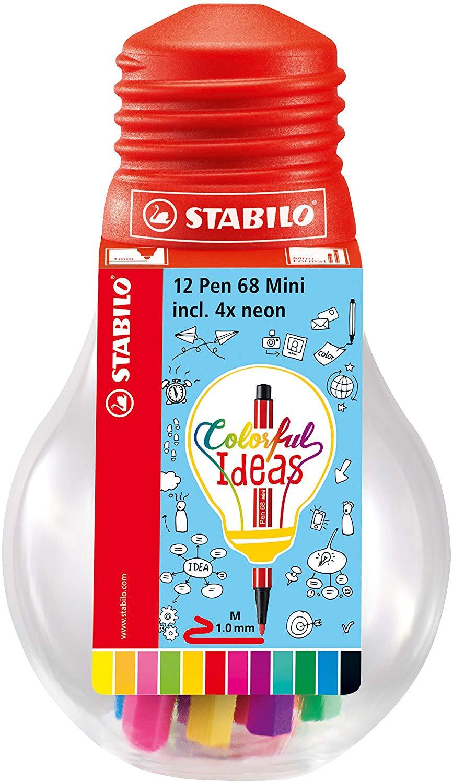STABILO Premium-Filzstift Pen 68 Mini - Colorful Ideas 12er Pack 12 verschiedenen Farben in wiederverschließbarer Glühbirne für 5€ (Müller)