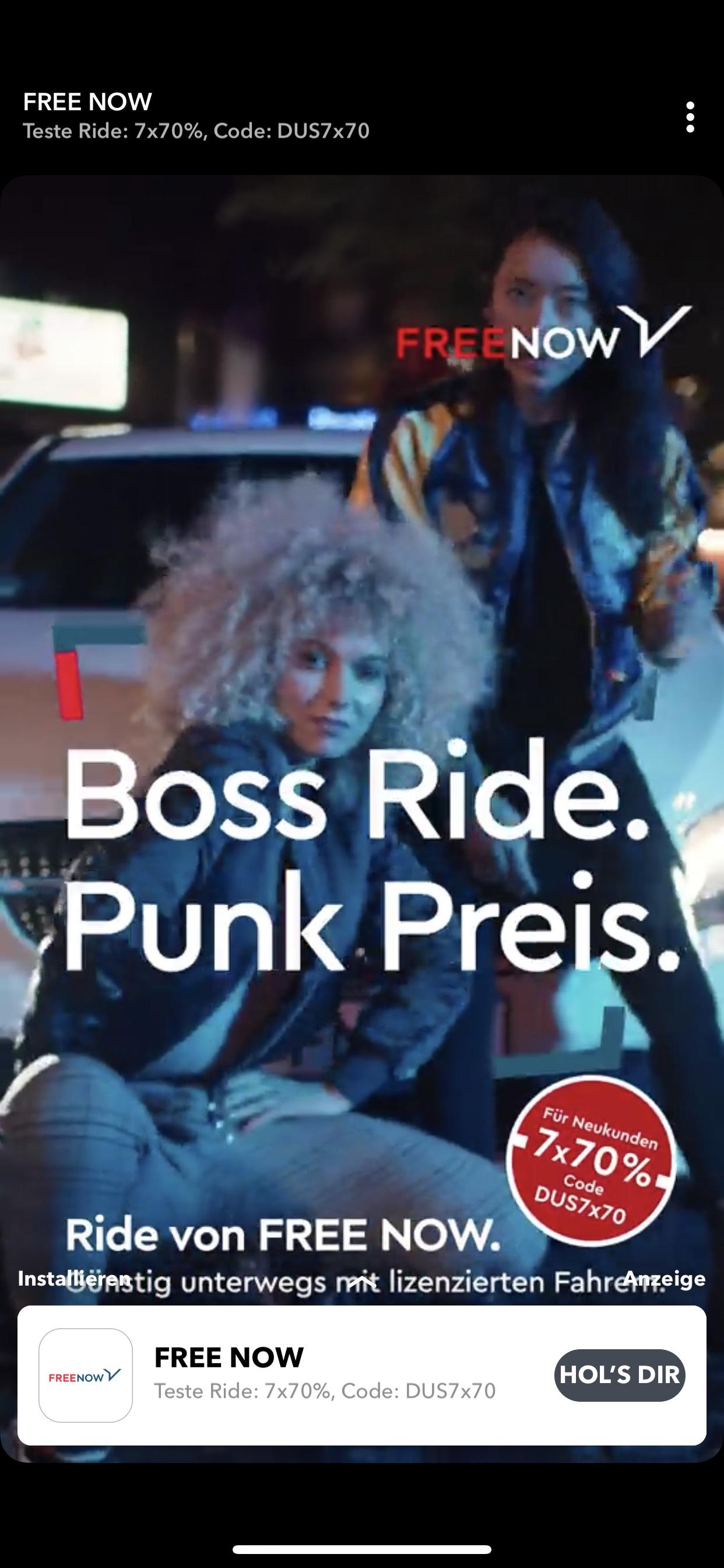 FREE NOW Ride (mytaxi) Neukunden Düsseldorf - 7 x 70% Rabatt (bis 10€) (freenow)