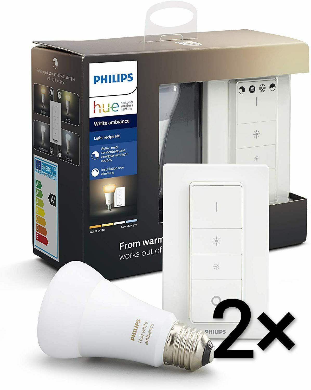 2× Set Philips Hue E27 Light Recipe Kit Bluetooth (2× Lampe + 2× Dimmschalter) White Ambiance für 48.78€ / White für 38.44€ (Amazon.es)