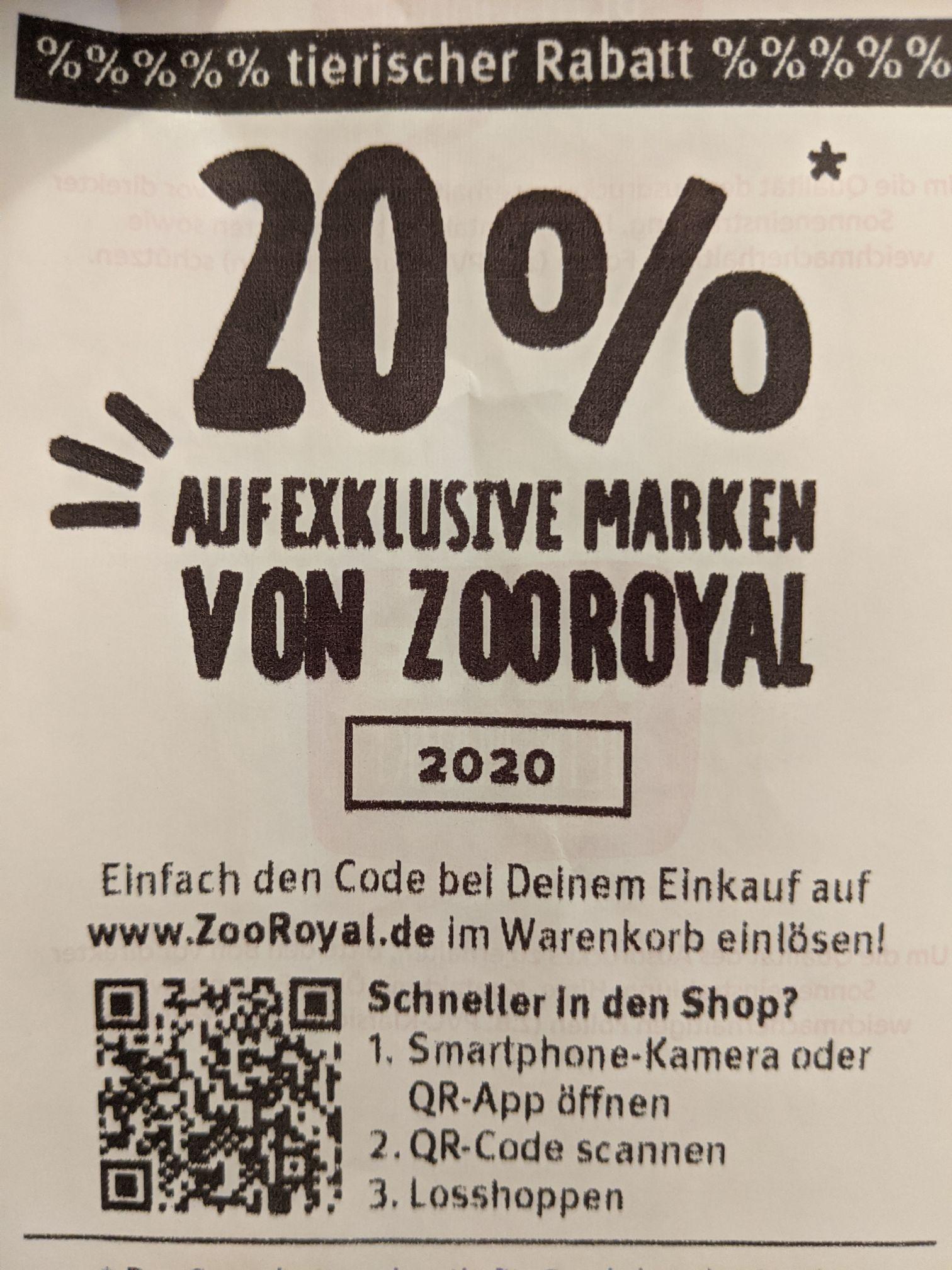 20% auf exklusive Marken von ZooRoyal - 29 Euro MBW