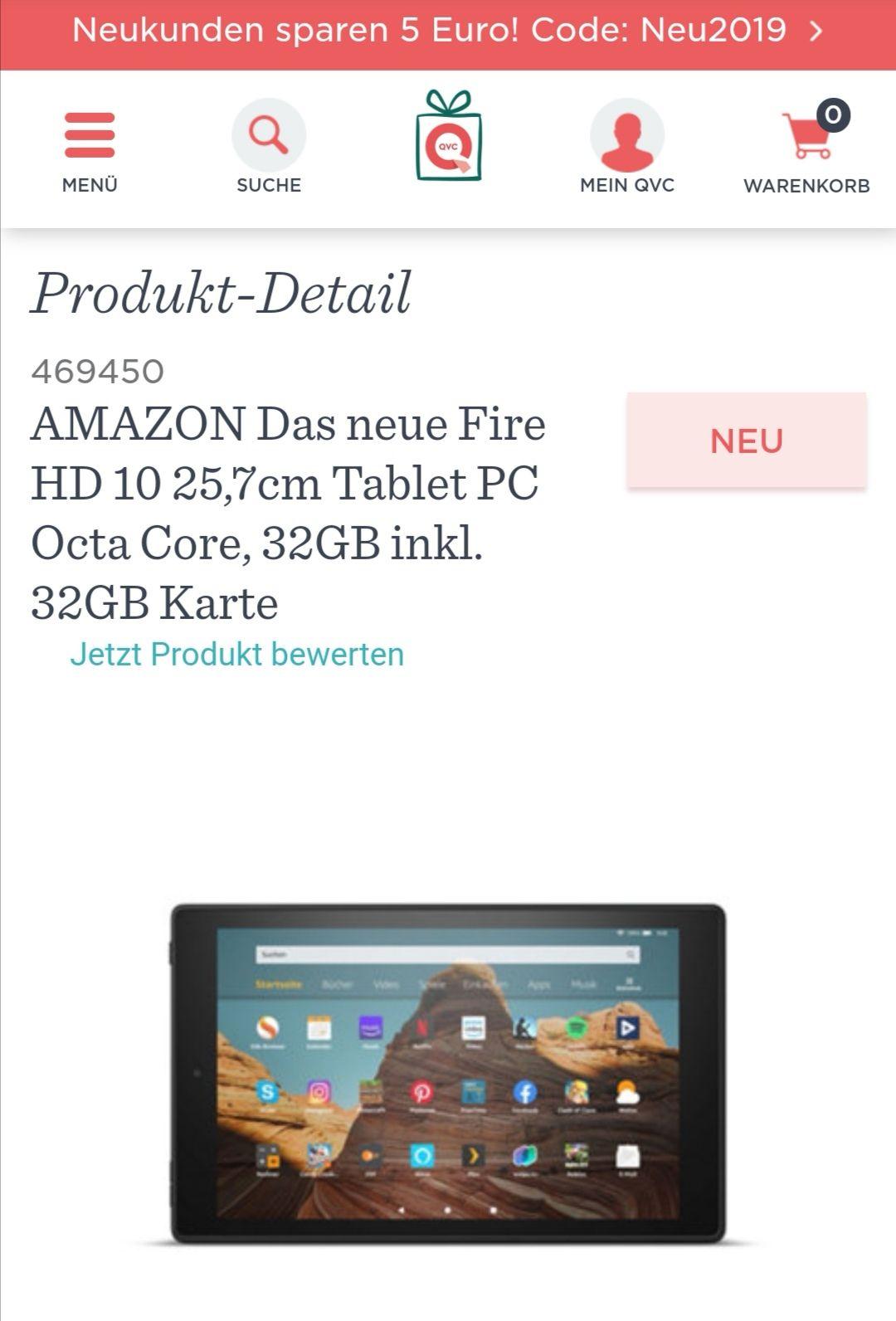 [QVC] AMAZON Das neue Fire HD 10 25,7cm Tablet PC Octa Core, 32GB inkl. 32GB Karte
