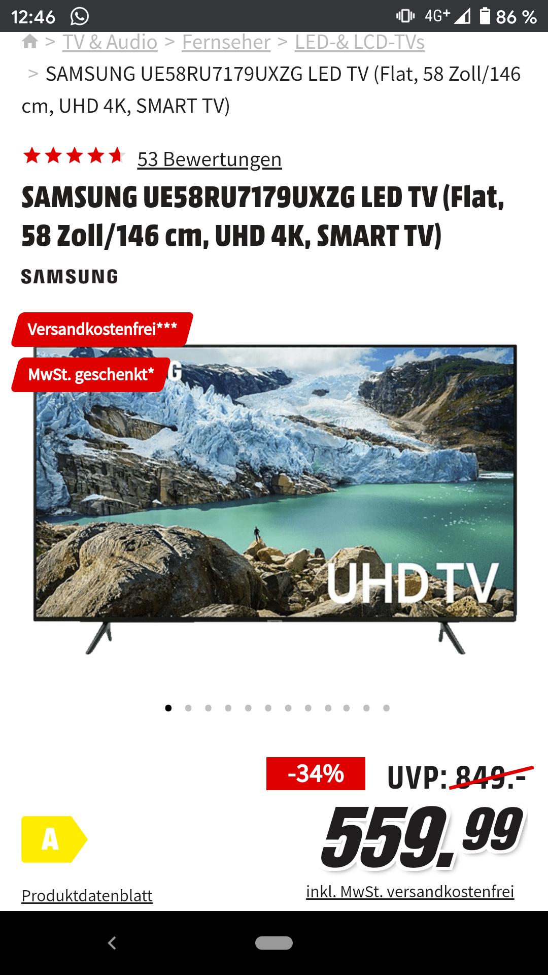 Mediamarkt: SAMSUNG UE58RU7179UXZG LED TV (Flat, 58 Zoll/146 cm, UHD 4K, SMART TV)