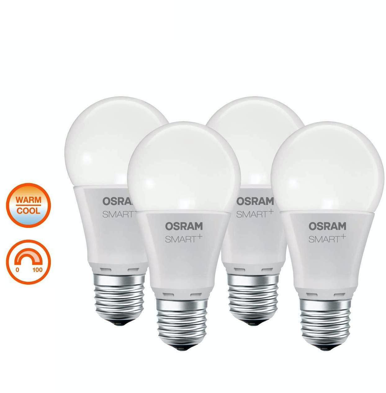 OSRAM Smart+ LED E27, ZigBee, warmweiß bis tageslicht, dimmbar, kompatibel mit Echo Plus / Show (2. Gen.), Philips Hue Bridge, 4er Pack
