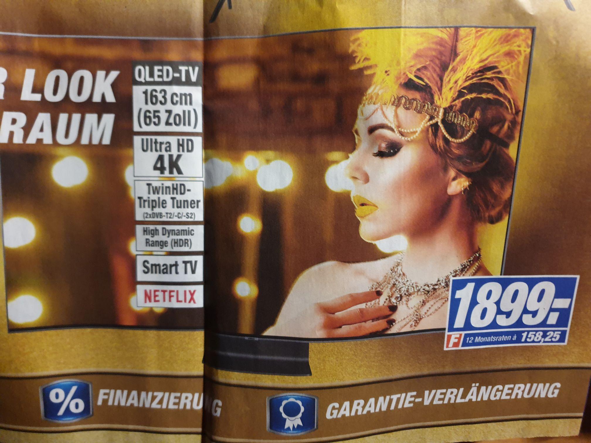 (Lokal Bielefeld) Samsung Qled GQ65Q90R Premium-Fernseher 65 Zoll, 4K,One-Connect-Box usw. nur 1899€
