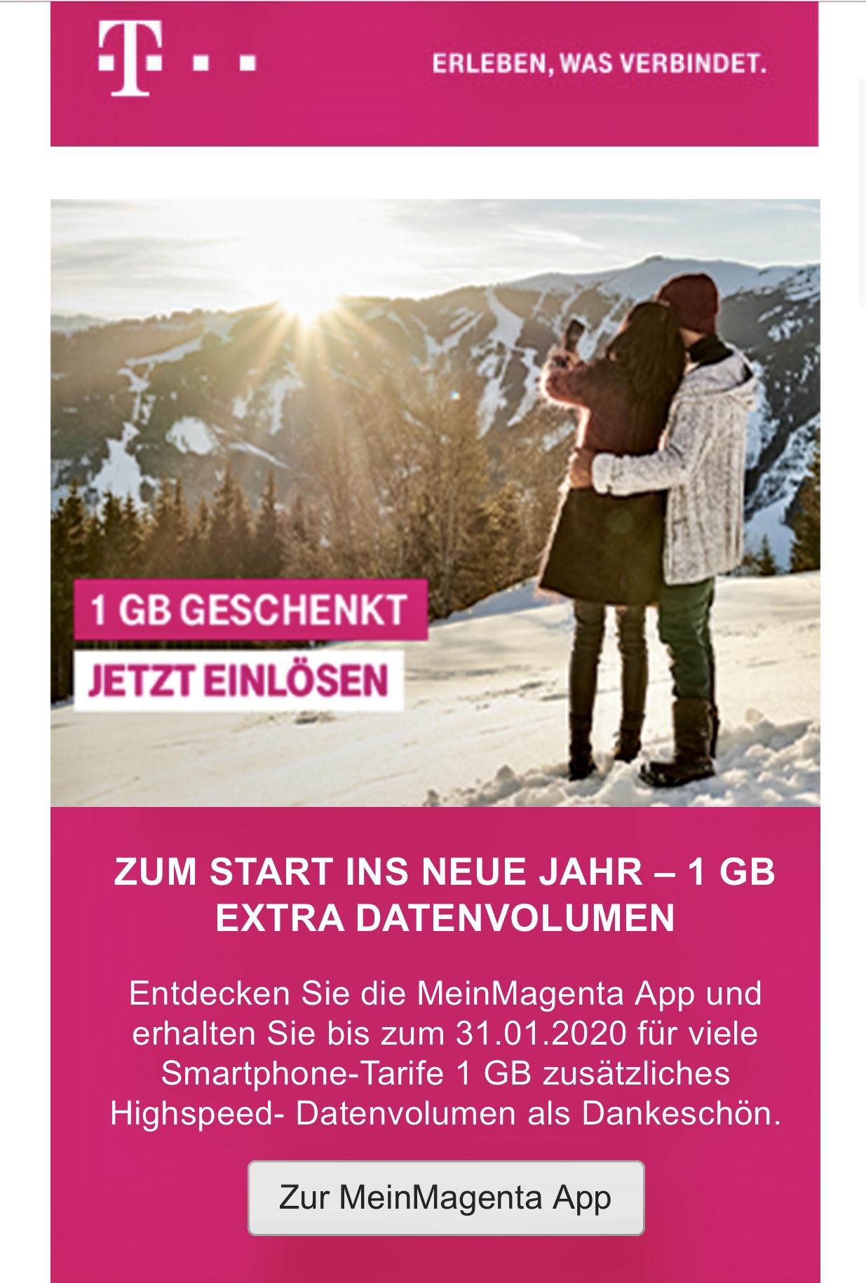 1gb gratis zum Neujahr über Telekom Mein Magenta App