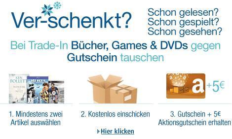 5€ Amazon Gutschein extra für Eintausch von 2 Büchern/Games/DVDs, ohne Mindesteintauschwert @Amazon Trade-in