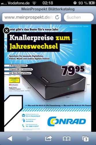 2 TB externe HDD von Verbatim 74,95 Conrad.de mit 5€ Gutschein