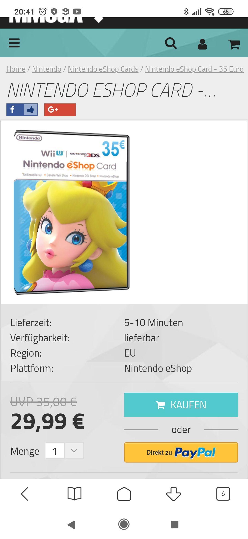 Nintendo eShop Karte 35€ für 29,99€!