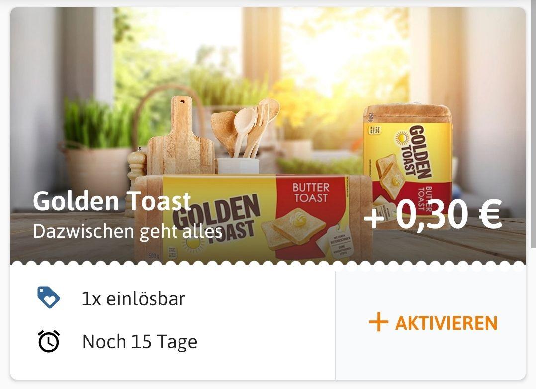 (Reebate) 30 Cent Cashback auf Golden Toast (mit 40 Cent Marktguru Cashback kombinierbar)