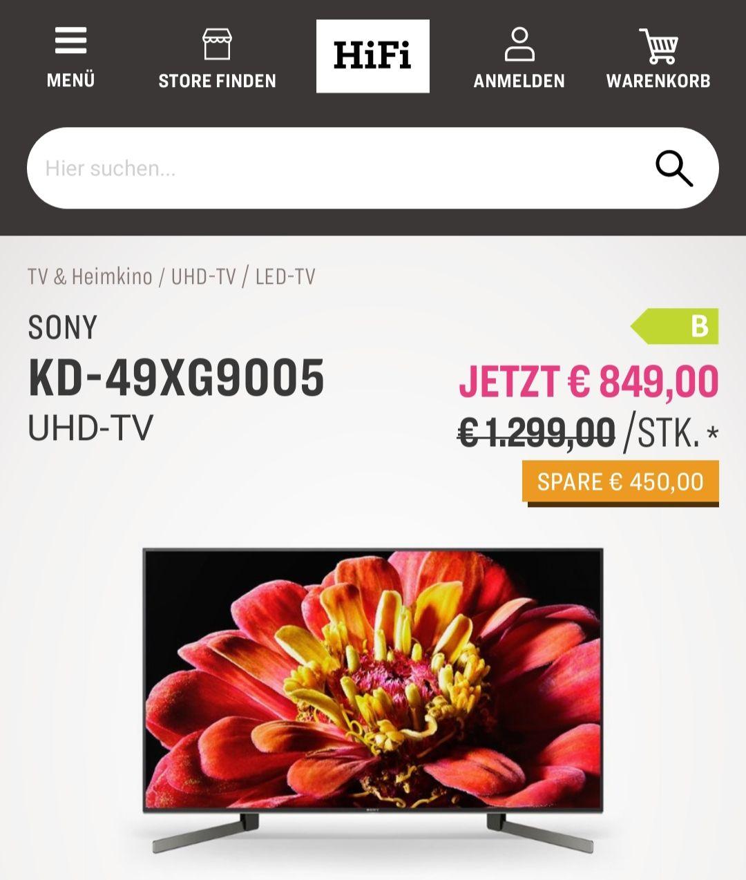 Sony KD-49XG9005 inkl. 5 Jahre Garantie - 4K Fernseher TV HiFi Klubben Online