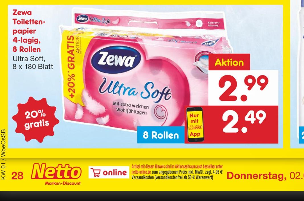 Netto Markendiscount: Zewa Ultra Soft Toilettenpapier + 20%gratis. 8x180 Blatt (50ct Rabattcoupon- mit Netto App)