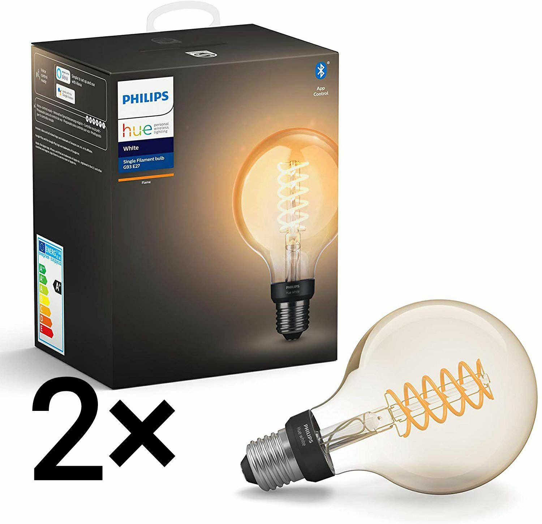 2× Philips Hue White Filament LED E27 Globe Bluetooth - Edison G95 für 44.17€ oder St64 für 38.13€ (Amazon.es)
