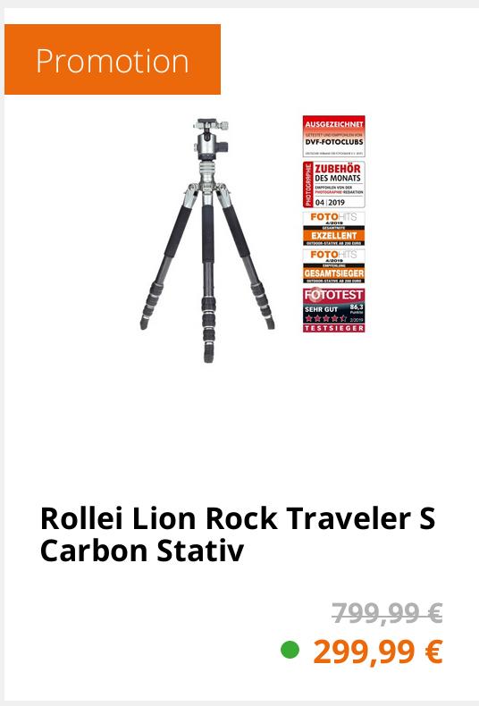 Rollei Lion Rock Traveler S Carbon Stativ