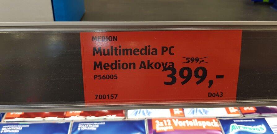 ALDI-PC Medion Akoya P56005 399.- Euro (anstatt 599.- Euro) lokal im Aldi Karlsbad-Langensteinbach (Karlsruhe / Ettlingen / Pforzheim)