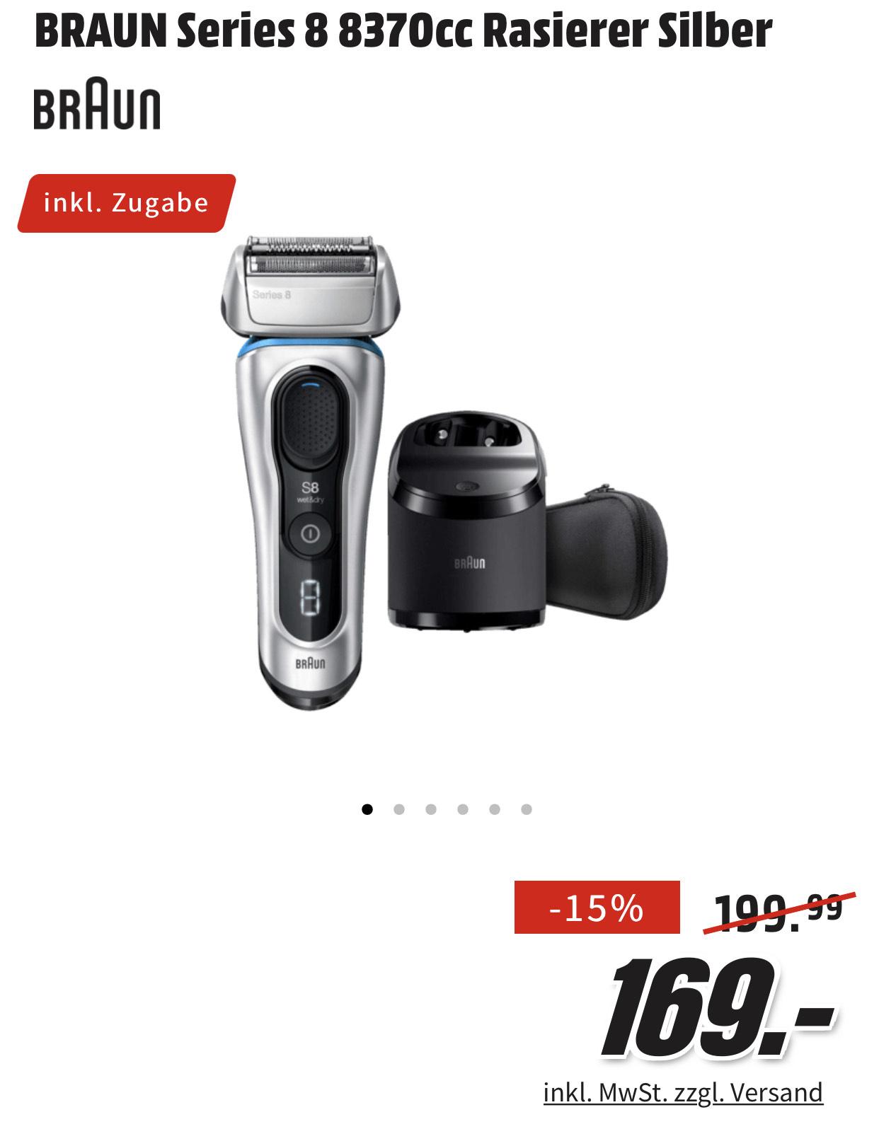 BRAUN Series 8 - 8370cc plus 20 Euro cashback plus 5+1 Reinigungskartuschen [Media Markt]