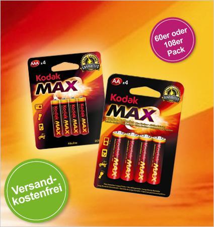 108er oder 60er Set Kodak Alkaline Batterien: ab 14,95€ statt 74,85€