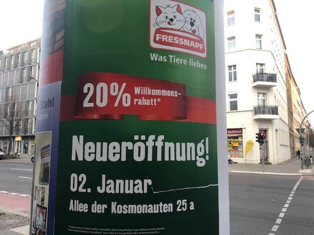 (Lokal-Berlin) 20% auf Alles bei Fressnapf Neueröffnung nur am 02.Jan in Berlin Lichtenberg
