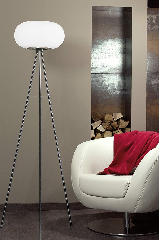 EGLO Dreibein Stehlampe Optica (2-flammig, Stahl, Farbe: Nickel matt, Glas: Opal matt weiß, Fassung: E27, inkl. Trittschalter)