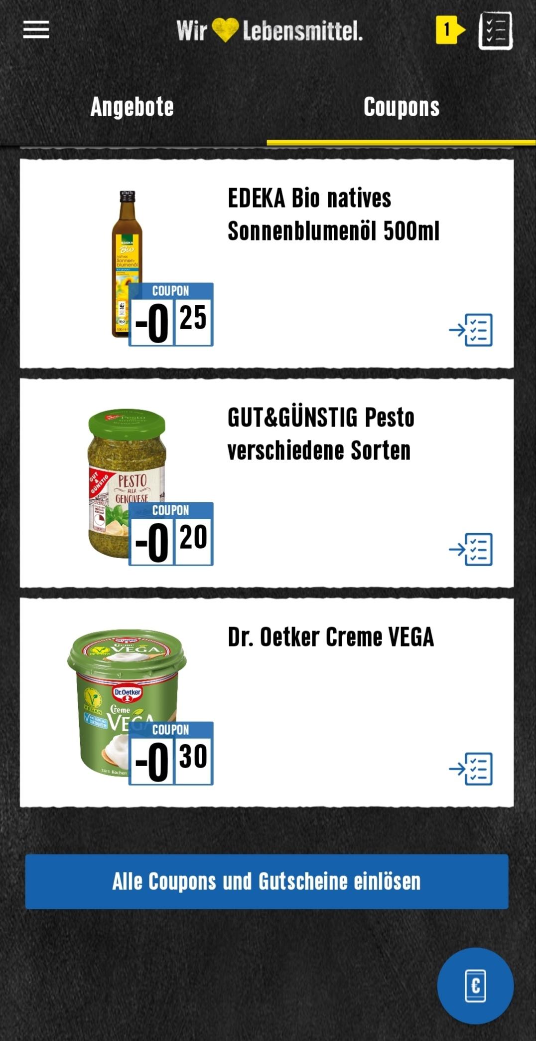 Edeka Dr. Oetker Creme Vega Edeka App Coupon und Coupies (5 x einlösbar)