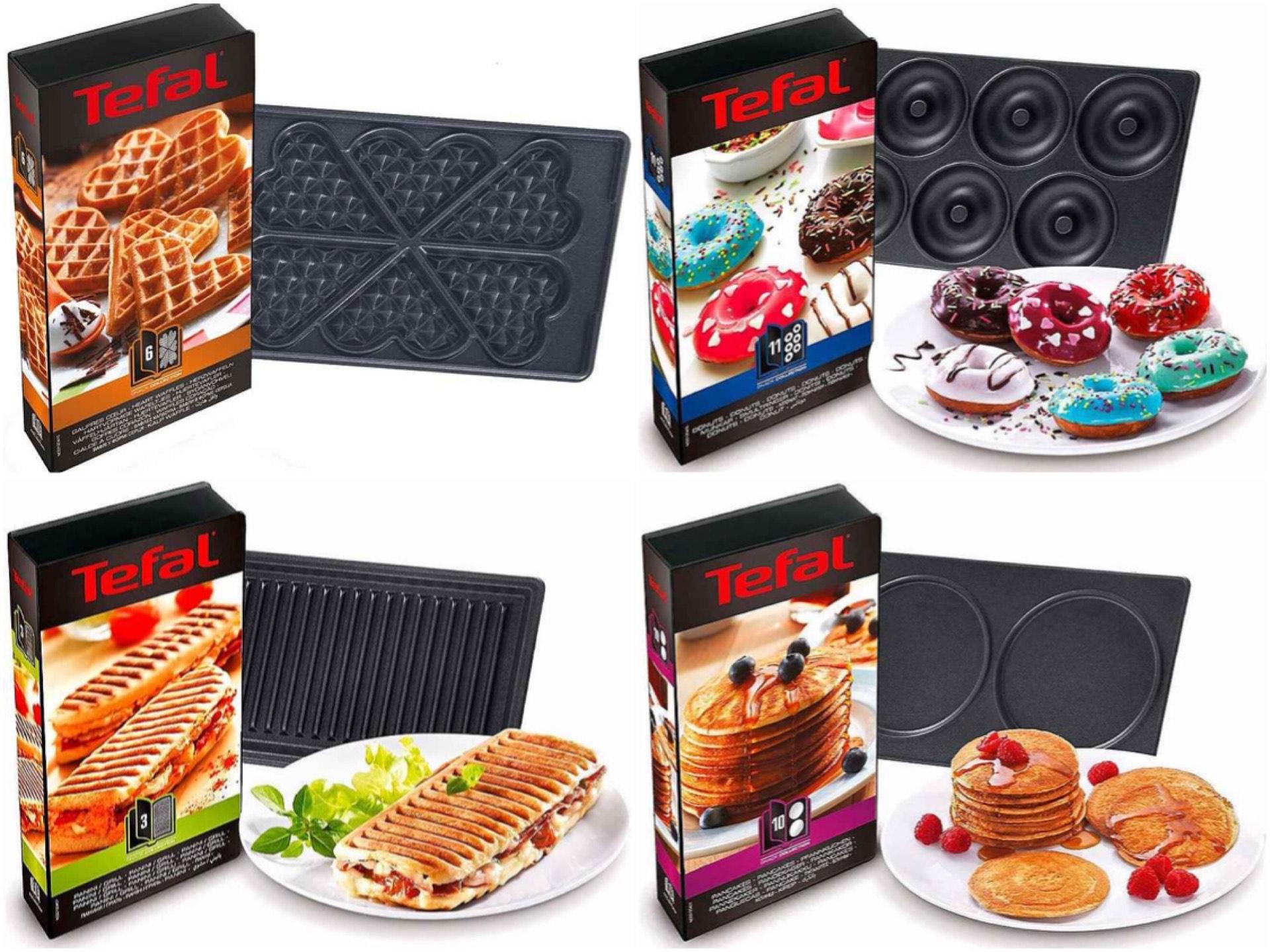 [Otto Neukunden] 2 Platten-Sets für Tefal Snack Collection: Pancakes • Mini-Donuts • Herzwaffel • Panini