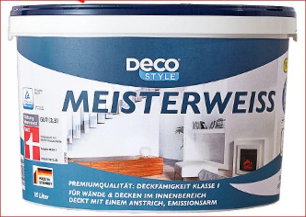 Deco Style Meisterweiss Wandfarbe 10L für 19,99 Euro [ALDI Süd]
