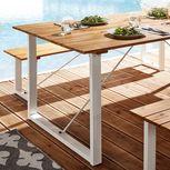 (Garten-) Tisch ca. 180x90 cm Akazie in Weiß (Set mit 2 Bänken für 137,90€)