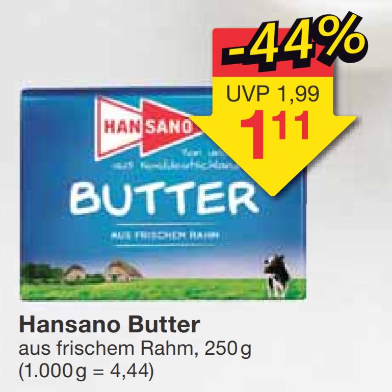 [jawoll] Butter HANSANO 250g (4,44€/kg)