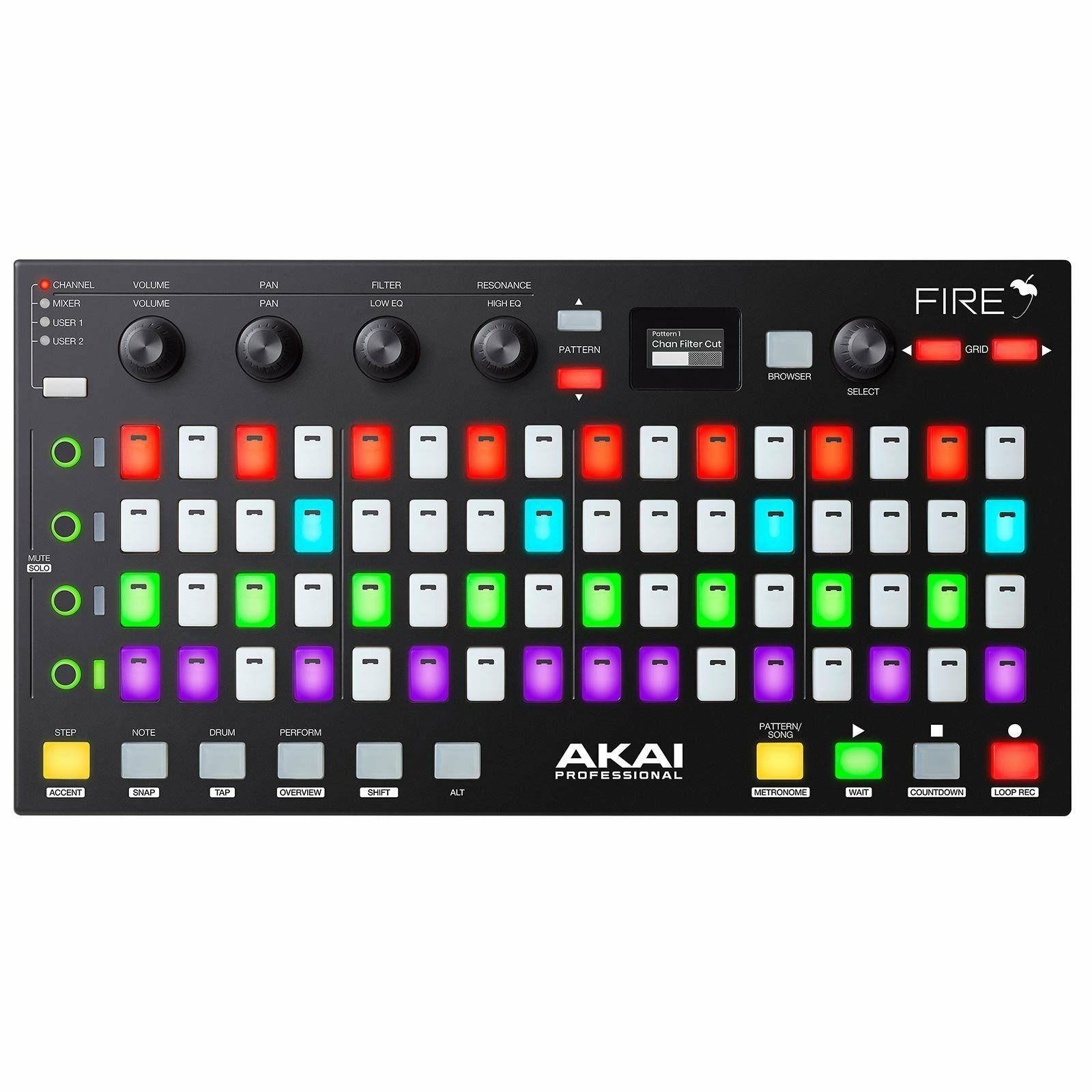 Akai Fire DAW-Controller inkl. Software (64 RGB Pads, 4 Drehregler, OLED Display)