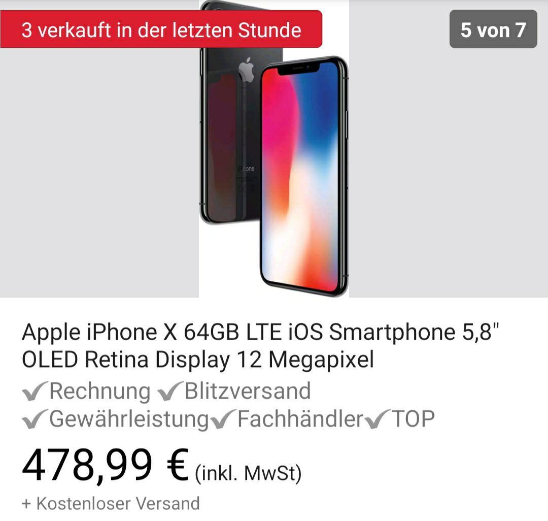IPhone X 64GB B-Ware mit 12 Monaten Gewährleistung