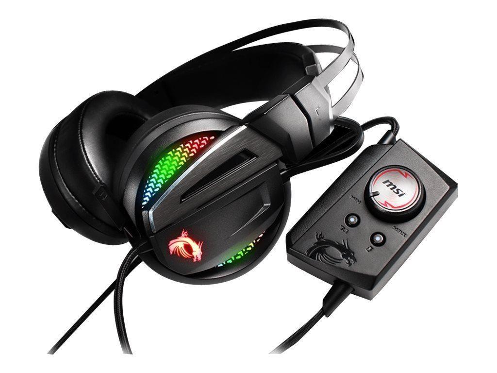 MSI Immerse GH70 Gaming Headset, 7.1 Virtual Surround Sound, RGB Mystic Light