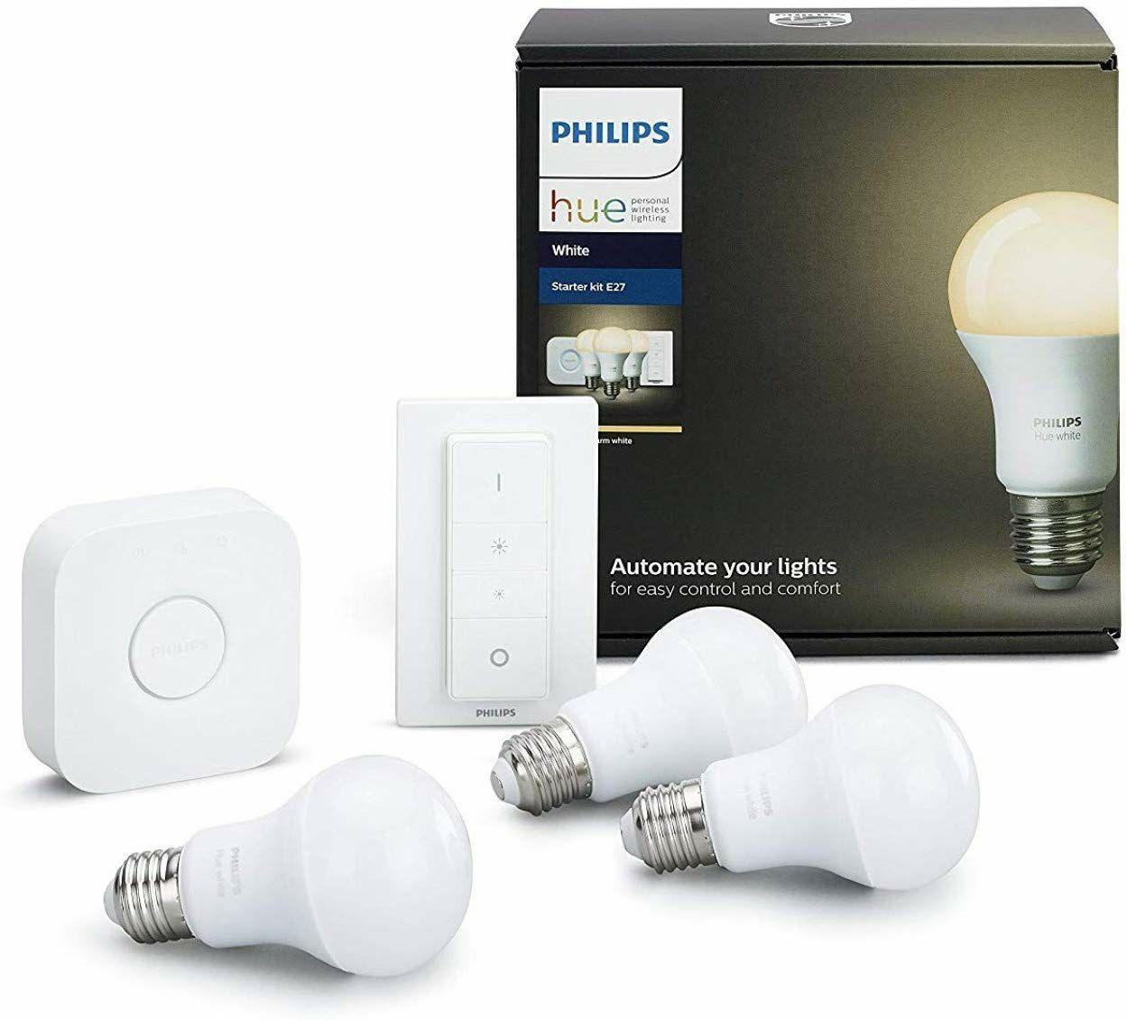 (Prime) Philips Hue White E27 LED Lampe Starter Set, drei Lampen inkl. Bridge und Dimmschalter, dimmbar, warmweißes Licht,9W