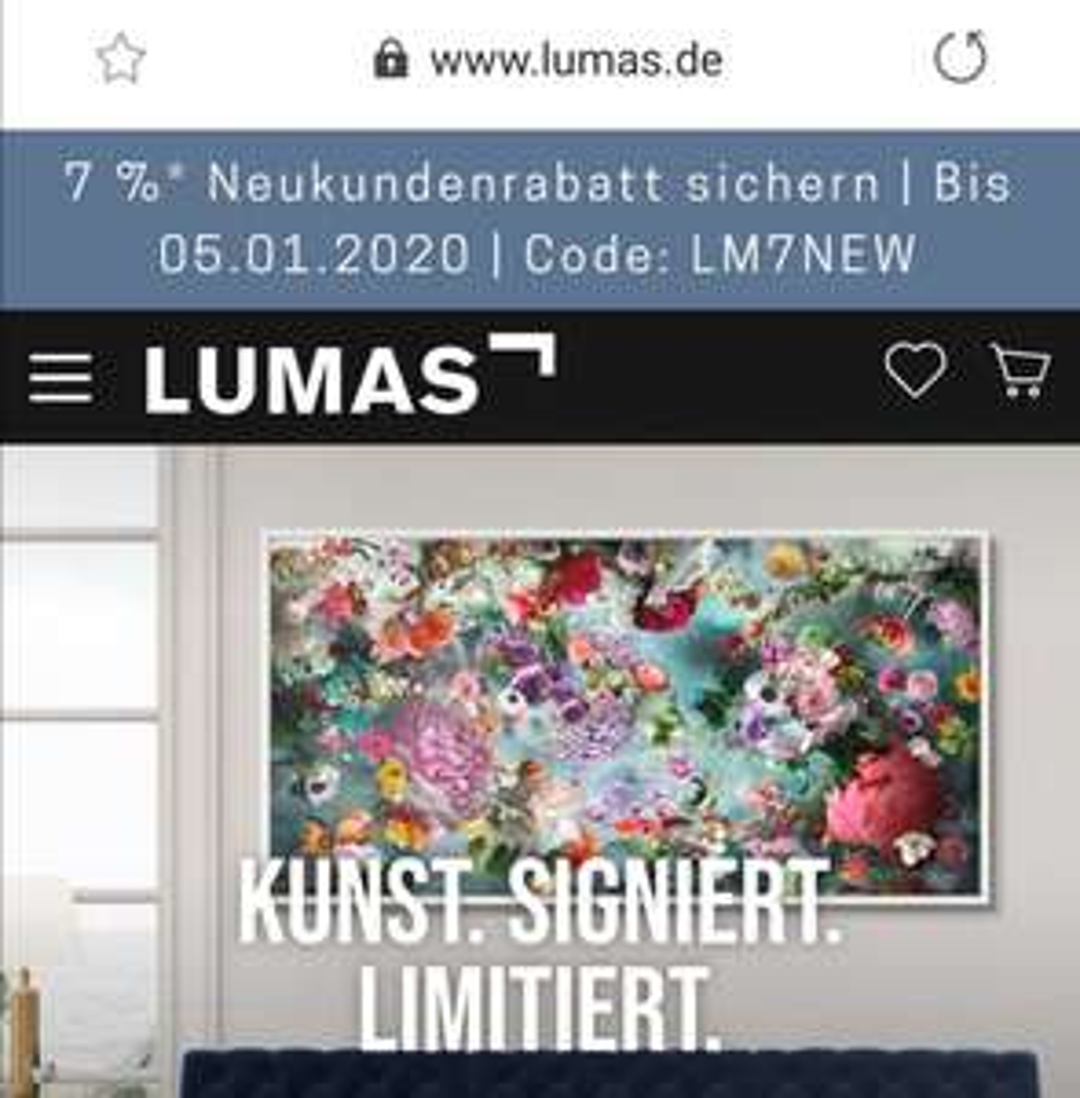 LUMAS Neukundenrabatt 7% bis 05.01.2020 Code: LM7NEW