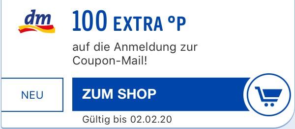 [Payback] 100 Gratis Punkte mit DM Coupon-Mail