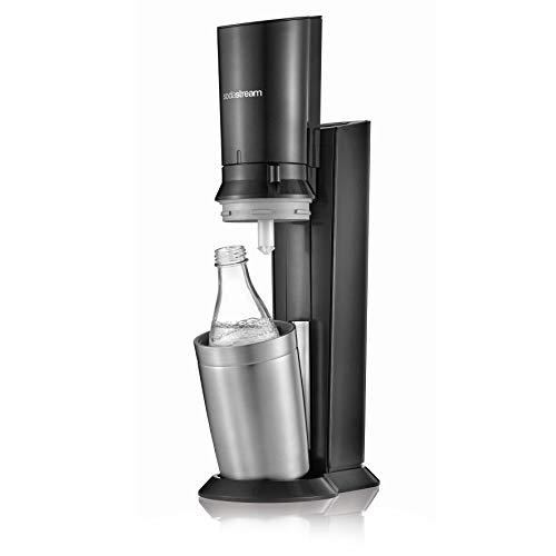 Sodastream Crystal 2.0 Wassersprudler mit CO2-Zylinder und 4X Glaskaraffen(4 x 0,6 L), Titan/Silber