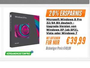 Windows 8 Upgrade DVD incl. Porto für 39,99€