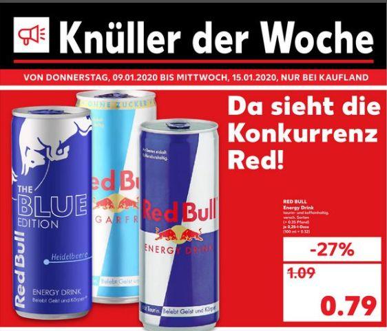 [Regional Kaufland Berlin ab 09.01] Red Bull in versch.Sorten in der 0,25l Dose für 0,79€ / Schrippen( Brötchen) für nur je 0,05€