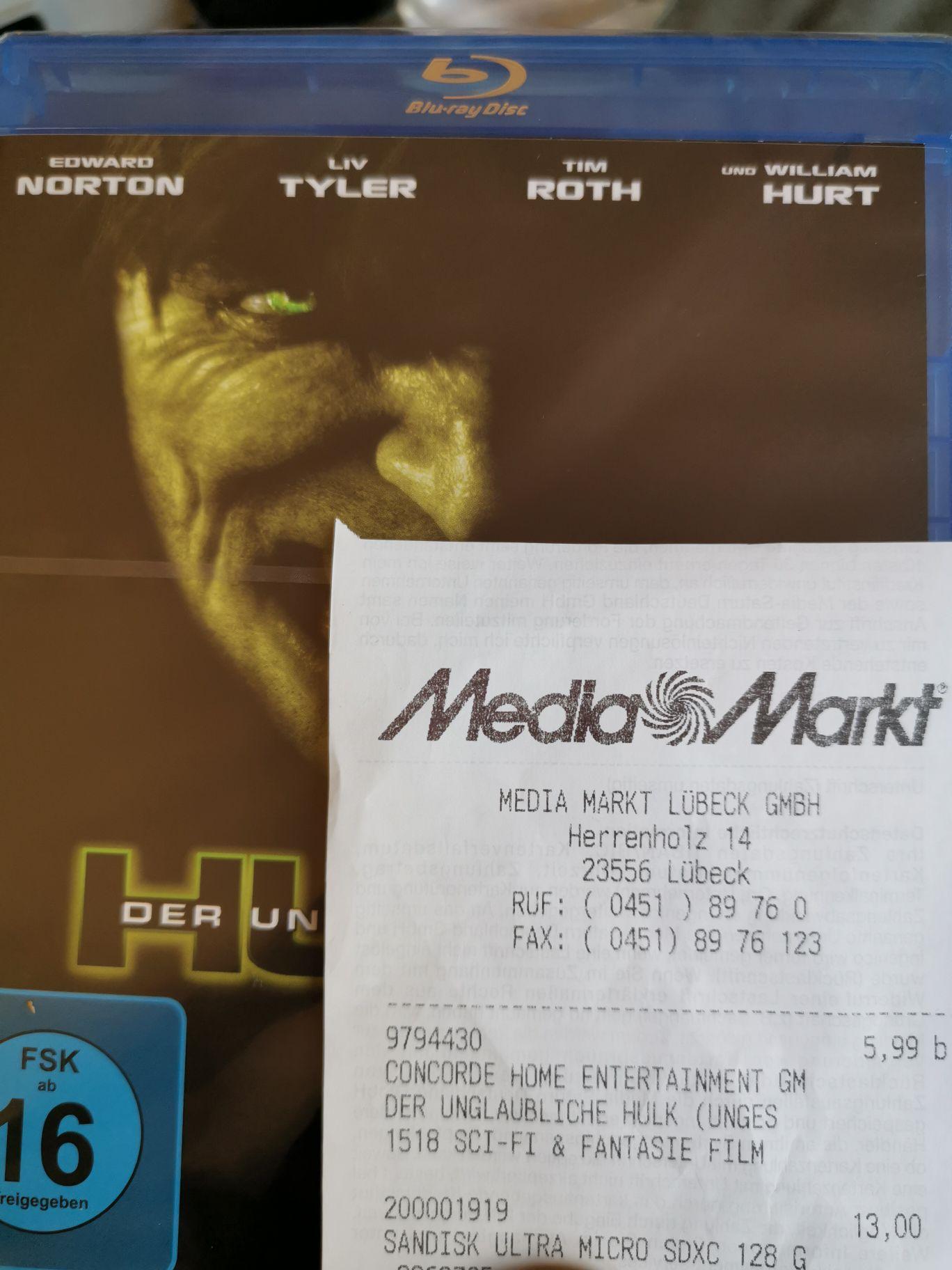 [Media Markt Lokal] Marvel Der unglaubliche Hulk uncut Blu Ray