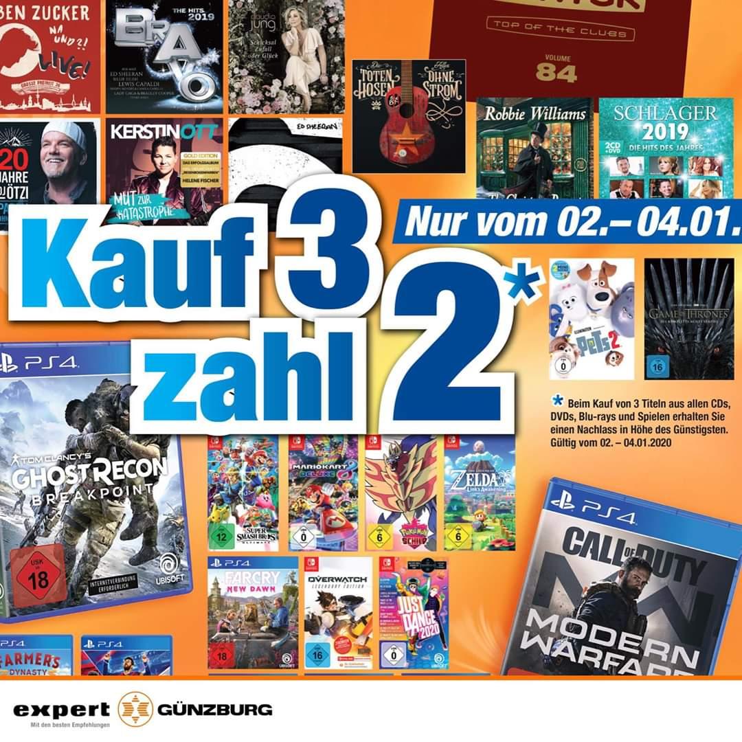 Kauf 3 Zahl 2 Aktion aus allen CDs, Dvds, Blu-Rays und Spielen (Lokal) (Günzburg)