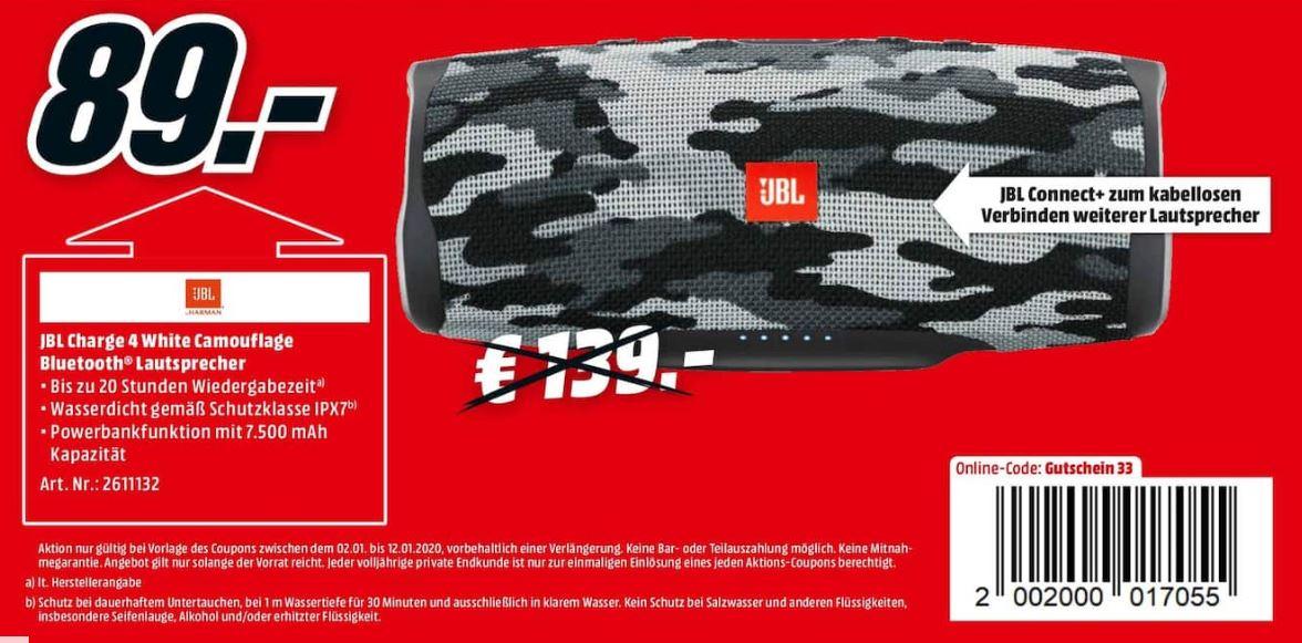 JBL Charge 4 White Camouflage Bluetooth Lautsprecher