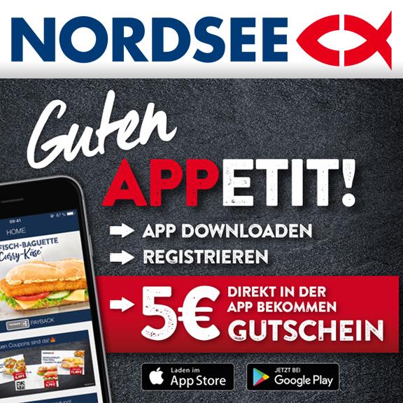 Nordsee App - 5€ Gutschein ohne Mindesteinkauf geschenkt bei Neuregistrierung (Freebies möglich)