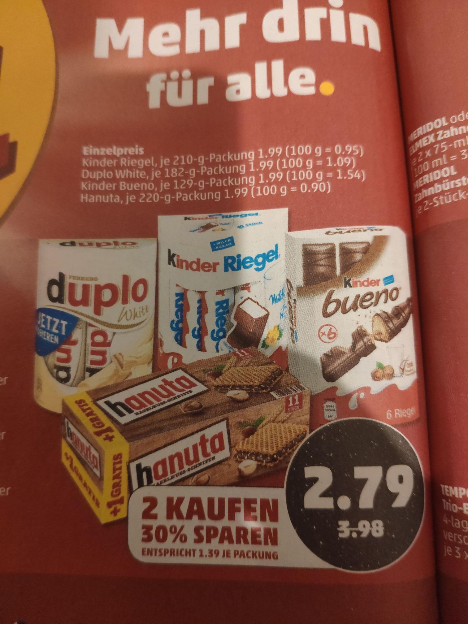 (Penny) 2x Ferrero Produkte für 2,79 kaufen und 2x10€ ecoupon für Deutsche Bahn erhalten. Ab den 7.1