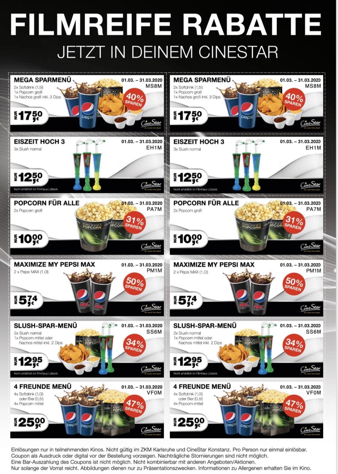 Cinestar Gutscheine für Popcorn und Nachos