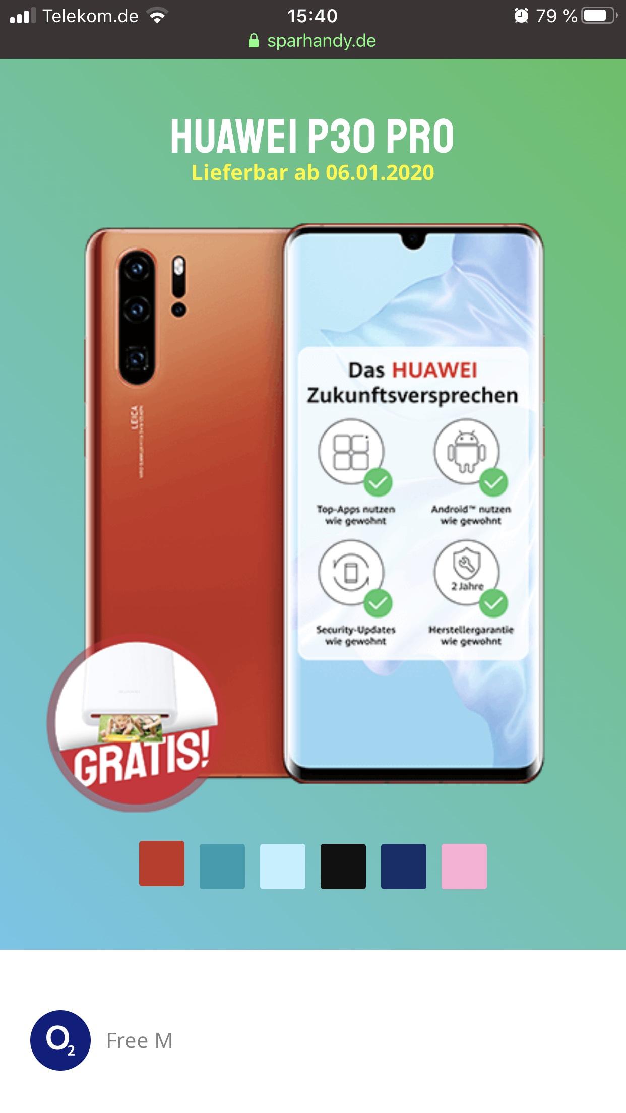O2 Free M, Huawei P30 Pro, Huawei Photo Printer Gratis dazu